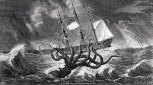 Legendary Kraken, monster of the deep, pictured as a giant squid. Engraving 1870.